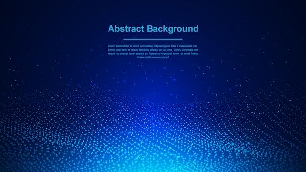 Dynamische abstracte vloeibare stroom blauwe deeltjesachtergrond.