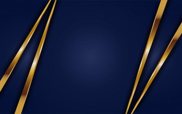 Dynamische abtract donkerblauwe achtergrond met gouden lijn. achtergrond abstract modern