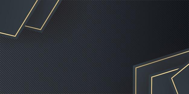 Dynamische elegante abstracte geometrische gouden en zwarte achtergrond