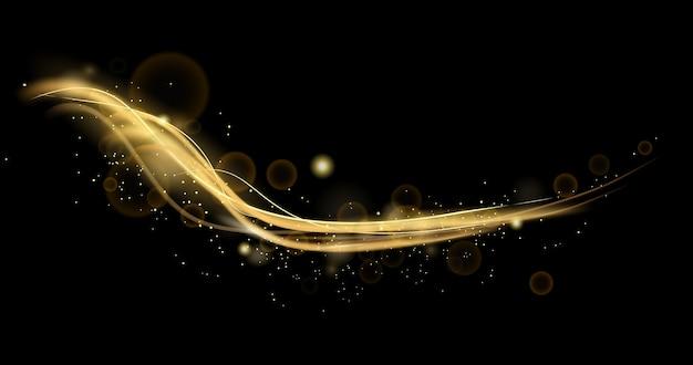 Dynamische lichten, lijneneffect met glitters. abstracte achtergrond