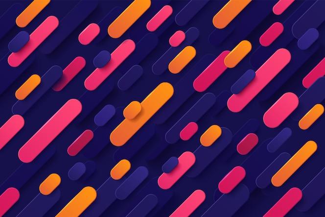 Dynamische roze en oranje kleurverloop ronde diagonale strepen overlappen op donkerblauwe achtergrond