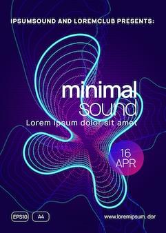 Dynamische verloopvorm en lijn. energie concert poster lay-out. neon dans flyer. electro trance muziek. techno dj-feest