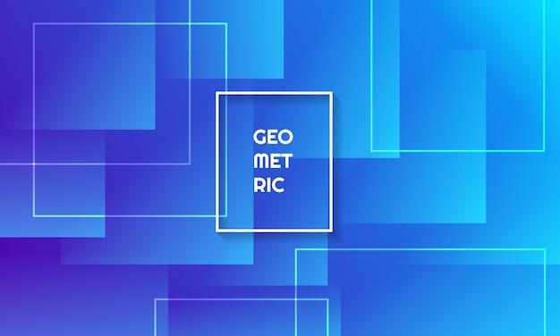 Dynamische vierkante vormensamenstelling op blauwe kleurenachtergrond.