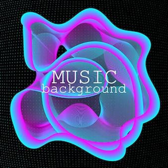 Dynamische vloeiende vorm. muziek golven. digitaal geluid. neon poster ontwerpsjabloon.
