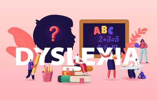 Dyslexie stoornis illustratie