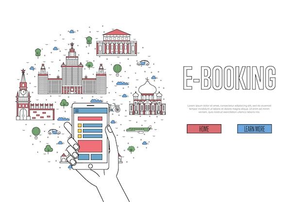 E-boekingssjabloon in lineaire stijl