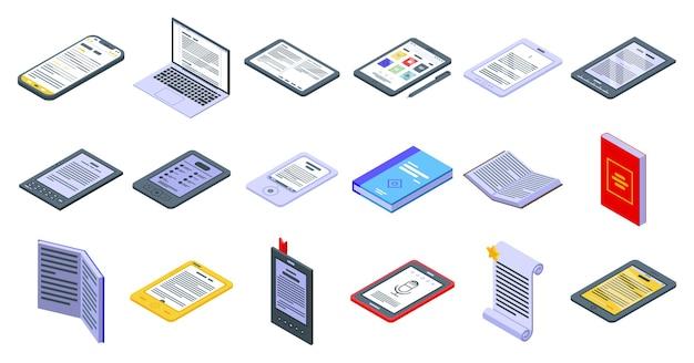 E-book toepassingspictogrammen instellen. isometrische reeks pictogrammen van de e-boektoepassing voor web die op witte achtergrond wordt geïsoleerd