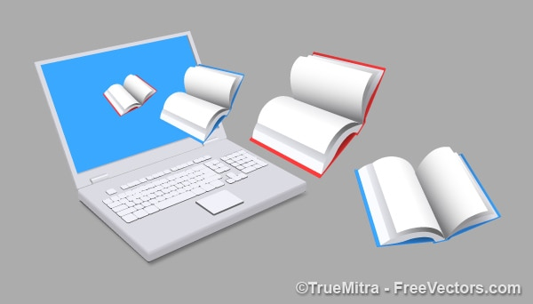 E-books laptop copywritting pictogram vector