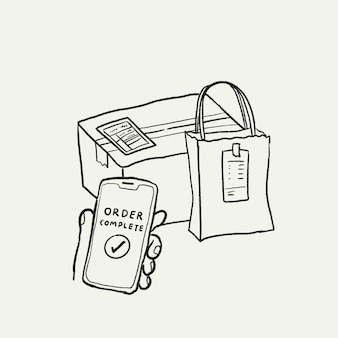 E-commerce bedrijf doodle vector, online levering bestelling voltooid