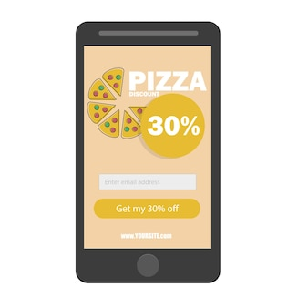 E-commerce concept fastfood online bestellen. smartphone met pizza en knop op het scherm. vector platte cartoon afbeelding voor reclame, websites, banners ontwerp. bezorgservice met korting