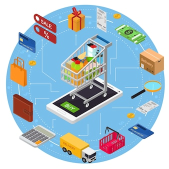 E-commerce concept met mobiele telefoon shopping technology service isometrische weergave.