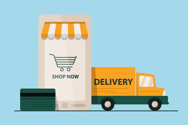 E-commerce concept. smartphone e-marketing, app store, bestelwagen. platte ontwerp stijl moderne illustratie.