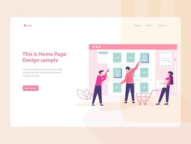 E-commerce concept vlakke afbeelding voor website-bestemmingspagina
