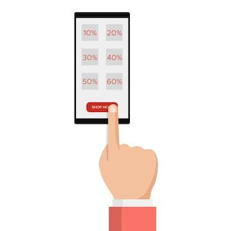 E-commerce, e-commerce, verkoop online winkelen, hand met smartphone, kortingslabelbericht