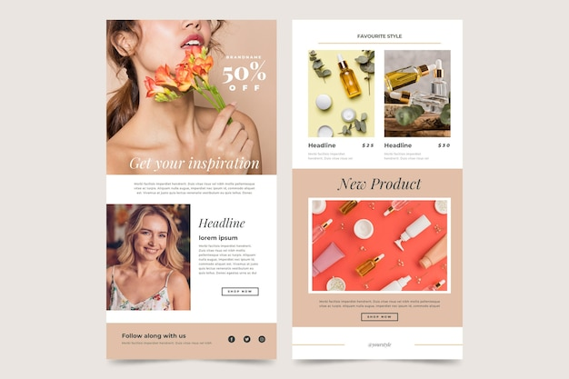 E-commerce e-mailsjablonen met foto's