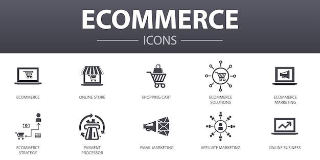 E-commerce eenvoudig concept pictogrammen instellen. bevat pictogrammen zoals online winkel, winkelwagen, betalingsverwerker, e-commerceoplossingen en meer, kan worden gebruikt voor web, logo, ui/ux
