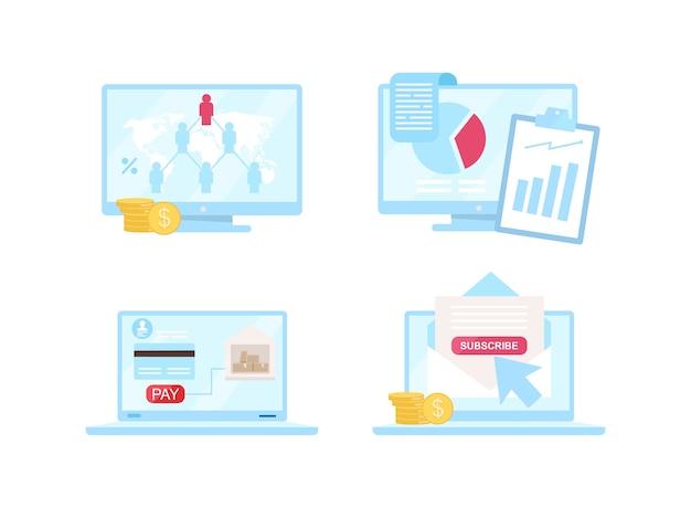 E-commerce egale kleur objecten ingesteld. netwerkmarketingmodel. dropshipping. abonnement. ebusiness geïsoleerde cartoon afbeelding voor web grafisch ontwerp en animatie collectie