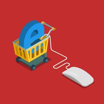 E-commerce elektronische online verkoop bedrijf plat isometrisch