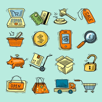 E-commerce gekleurde pictogrammen schets set winkelwagen boodschappen doos verkoop label geïsoleerde vector illustratie.
