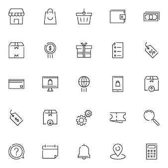 E-commerce icon pack, met overzicht pictogramstijl
