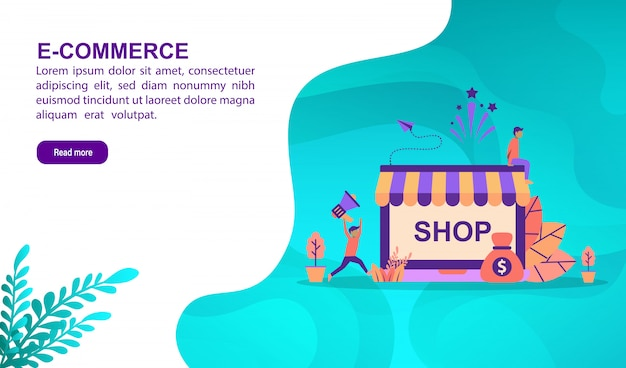 E-commerce illustratie concept met karakter. bestemmingspaginasjabloon