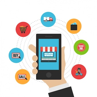 E-commerce infografie met smartphone