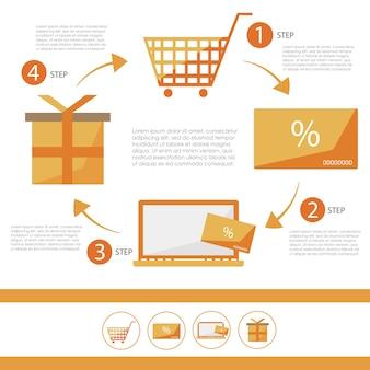 E-commerce infographic platte set - kortingskaart - vectorillustratie voor ontwerp