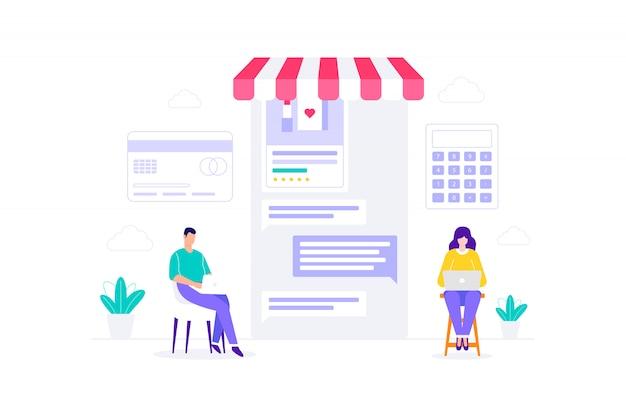 E-commerce klantenservice online winkelen illustratie