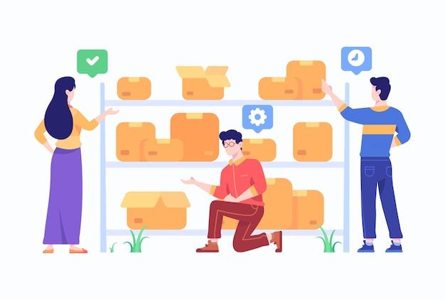 E-commerce marketplace-medewerker controleert en beheert goederenlevering in magazijnconcept