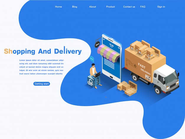 E-commerce markt, online winkelen en bezorgen. isometrisch concept