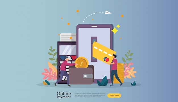 E-commerce markt winkelen online illustratie met kleine mensen karakter.