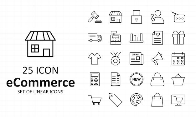 E-commerce ondertekent pictogramvel pixel perfect icons