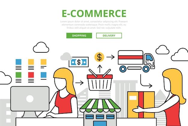 E-commerce online winkelen verkoop levering concept platte lijn kunst pictogrammen