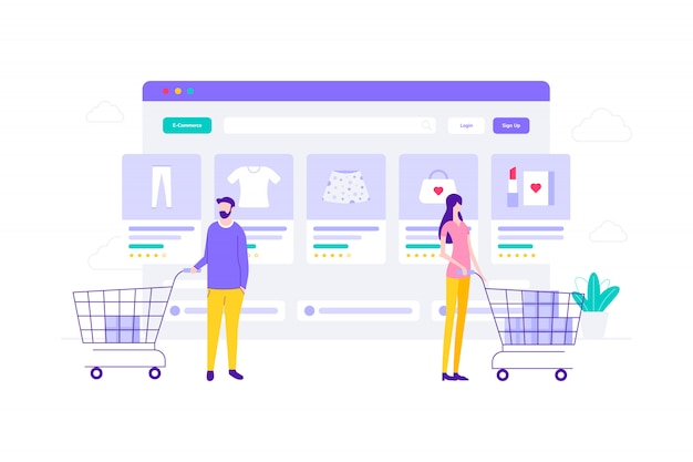 E-commerce online winkelen vlakke afbeelding, geschikt voor webbanners
