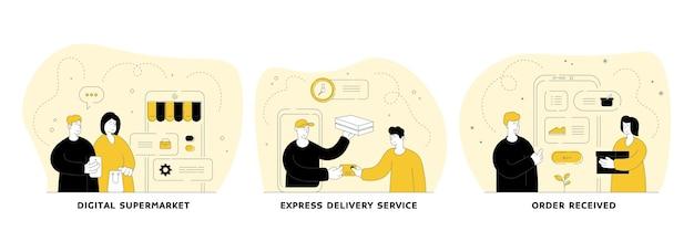 E-commerce platform vlakke lineaire afbeelding instellen. digitale supermarkt, koeriersdienst, bestelling ontvangen. mobiele applicatie voor online winkelen. mensen stripfiguren