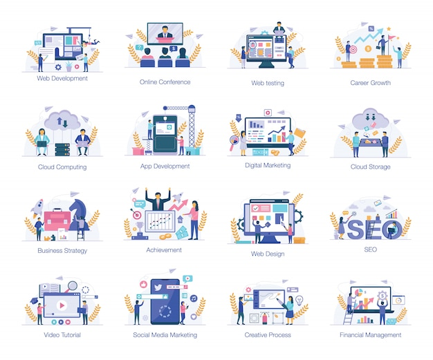 E-commerce platte illustraties set