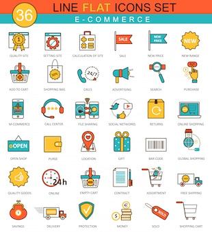 E-commerce platte lijn pictogrammen instellen
