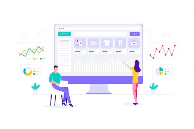 E-commerce seo online winkelen vlakke afbeelding