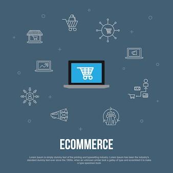 E-commerce trendy ui plat concept met eenvoudige lijnpictogrammen. bevat elementen zoals online winkel, winkelwagentje, betalingsverwerker, ecommerce-oplossingen en meer