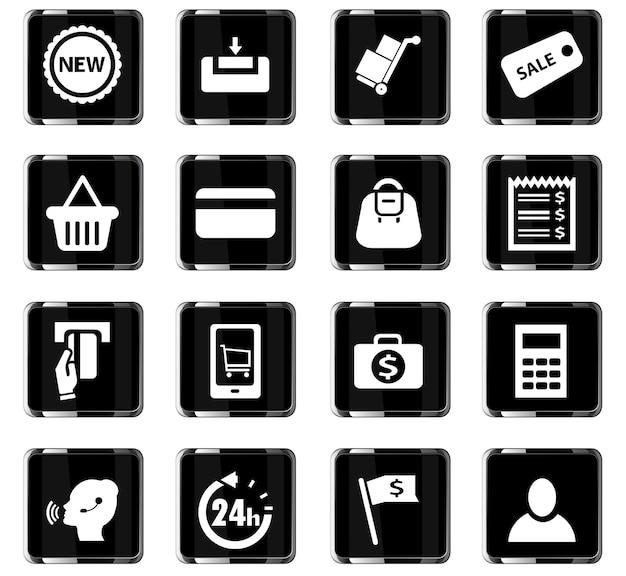 E-commerce vectorpictogrammen voor gebruikersinterfaceontwerp