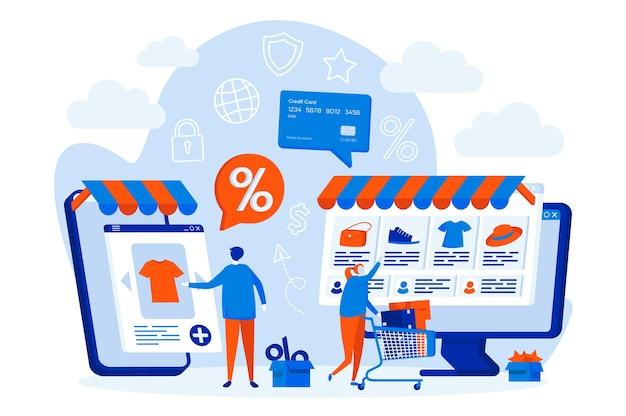 E-commerce web design concept met karakters van mensen