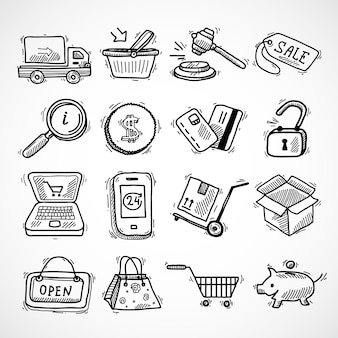 E-commerce winkelen pictogrammen schets set van leverings truck creditcard spaarvarken geïsoleerde vector illustratie