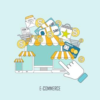 E-commerceconcept met online winkelelementen in dunne lijnstijl