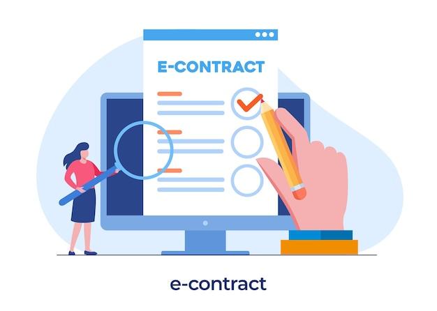 E-contractdocument, digitale overeenkomst, partnerschap, controle, checklist, platte illustratie vectorsjabloon