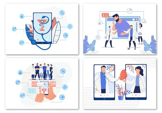 E-health, online arts zoeken of telegeneeskunde set