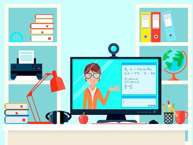 E-learning afstand leraar training samenstelling met externe les video-oproep thuis werkplek met computer