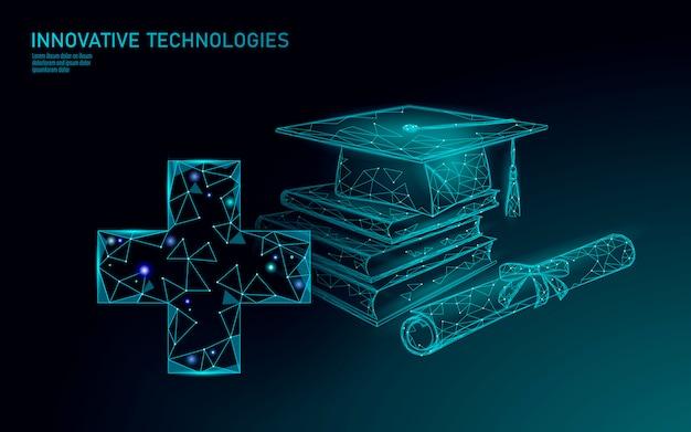 E-learning afstandsgeneeskunde afgestudeerd certificaat programma concept. laag poly 3d render afstuderen glb diploma medische kruis sjabloon voor spandoek. internet opleiding cursus graad illustratie