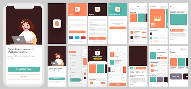 E-learning app ui kit voor responsieve mobiele app of website met verschillende lay-out, inclusief aanmelden, aanmelden, boeken en meldingsschermen.
