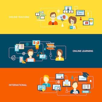 E-learning banner met elementen samenstelling op vlakke stijl