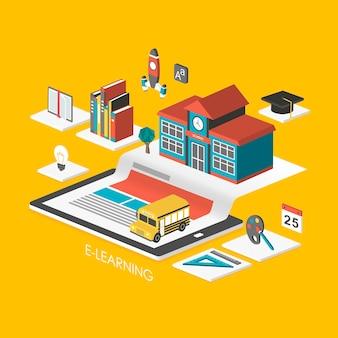 E-learning concept 3d isometrische infographic met tablet en school